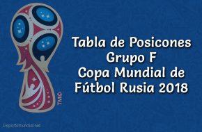 Tabla de Posiciones Grupo F Copa Mundial Rusia 2018
