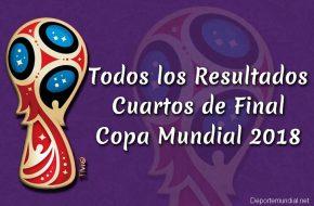 Resultados de Cuartos de Final Copa Mundial 2018
