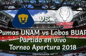 Pumas UNAM vs Lobos BUAP 4-2 Torneo Apertura 2018 este Domingo 16 Setiembre 2018