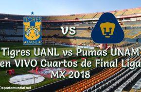 Tigres UANL vs Pumas UNAM en VIVO Cuartos de Final Liga MX 2018